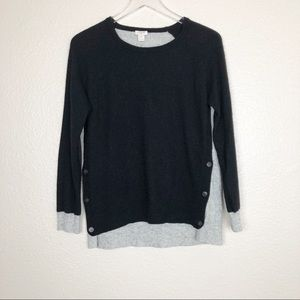 J crew wool blend color block button side sweater